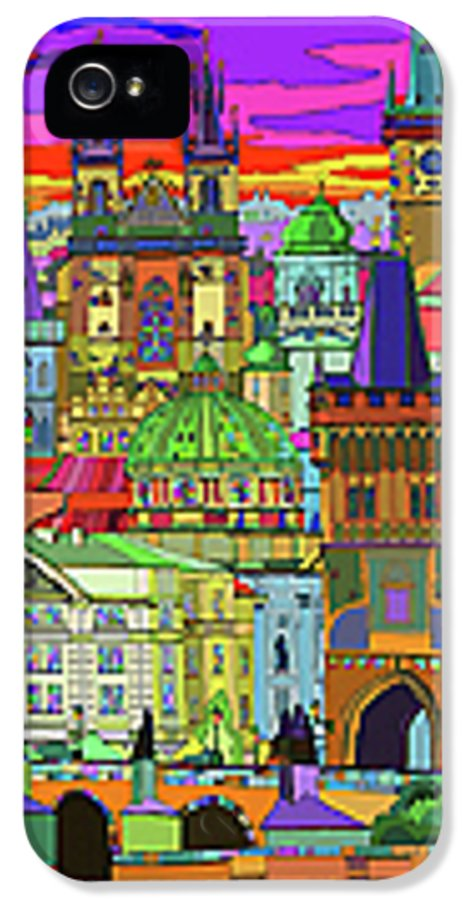Prague IPhone 5 Case featuring the mixed media Prague Panorama Old Town by Yuriy Shevchuk