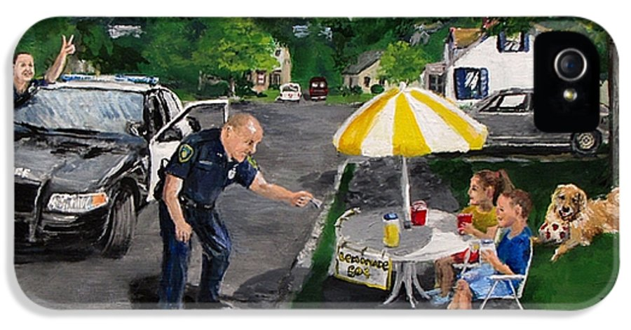 Police IPhone 5 Case featuring the painting The Lemonade Stand by Jack Skinner