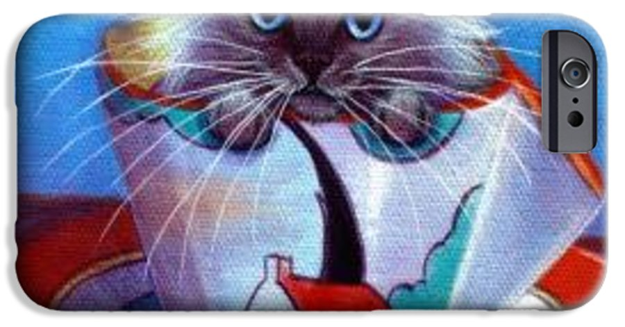 Whimsy IPhone 6 Case featuring the painting Clarice Cliff Tea Time Himi by L Risor