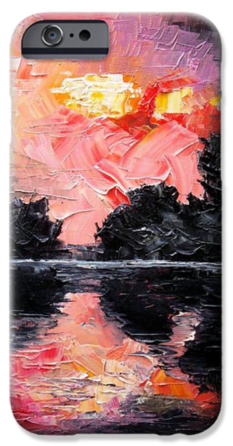 Lake After Storm IPhone 6 Case featuring the painting Sunset. After Storm. by Sergey Bezhinets