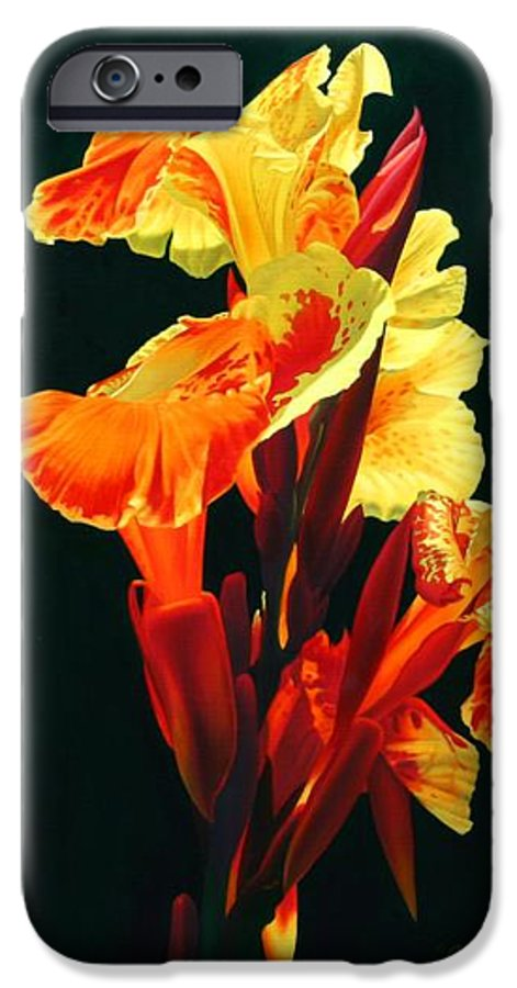 Flowers IPhone 6 Case featuring the painting Yellow Cannas by Gary Hernandez