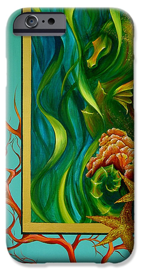 Ocean Sea Seahorse Coral Underwater Starfish Beach Tropical Layered Collage IPhone 6 Case featuring the painting Aquatica by Dina Dargo