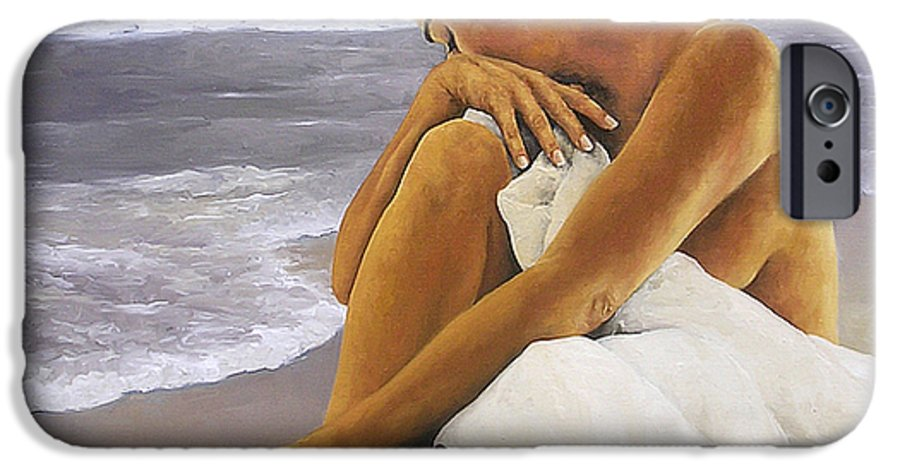 Nude IPhone 6 Case featuring the painting Hibiscus Dreaming by Trisha Lambi