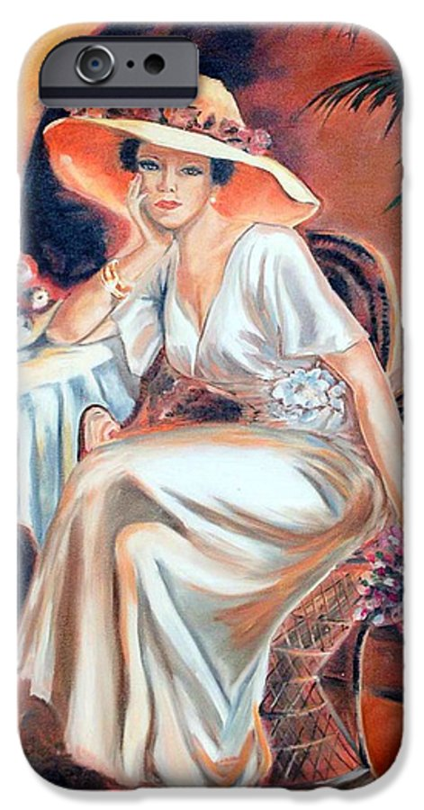 Woman IPhone 6 Case featuring the painting Patience In Beauty by Margaret Fortunato