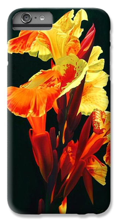Flowers IPhone 6 Plus Case featuring the painting Yellow Cannas by Gary Hernandez