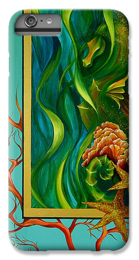 Ocean Sea Seahorse Coral Underwater Starfish Beach Tropical Layered Collage IPhone 6 Plus Case featuring the painting Aquatica by Dina Dargo