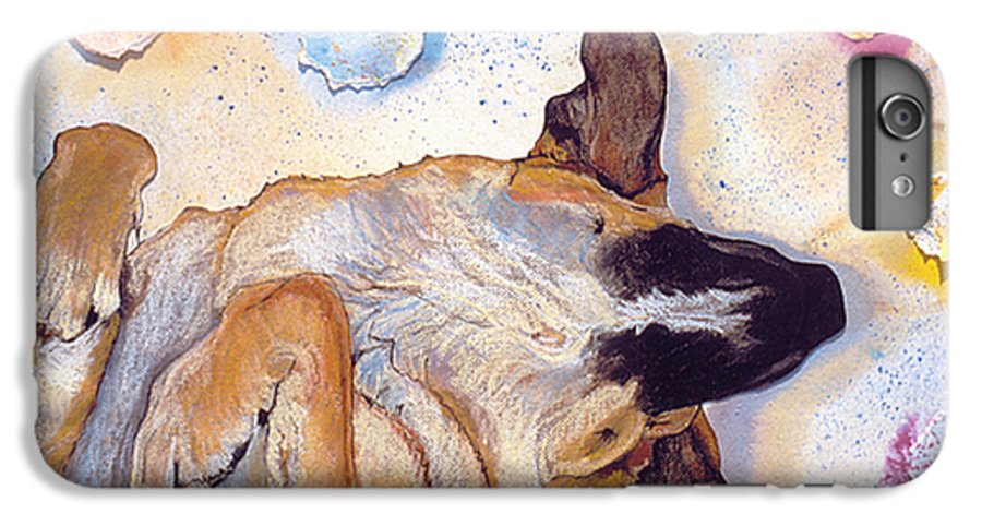 Sleeping Dog IPhone 6 Plus Case featuring the painting Dog Dreams by Pat Saunders-White