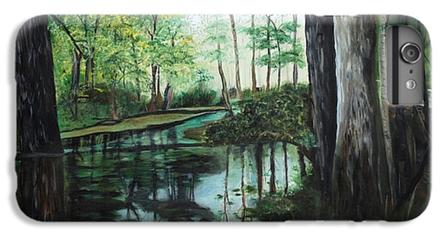 Landscape IPhone 6 Plus Case featuring the painting Ginny Springs by Margaret Fortunato