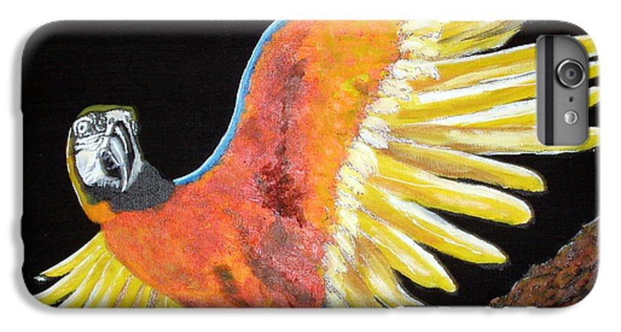 Macaw IPhone 6 Plus Case featuring the painting Macaw - Wingin' It by Susan Kubes