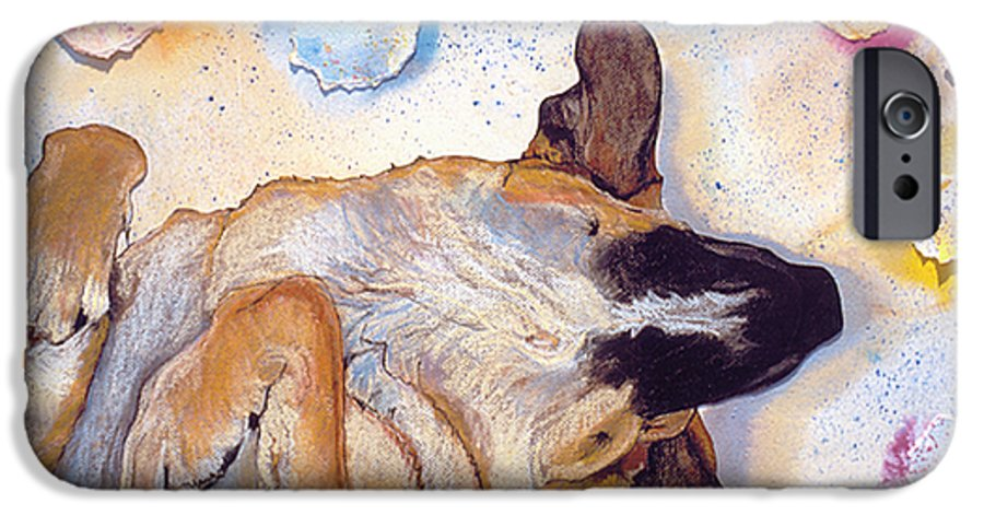 Sleeping Dog IPhone 6s Case featuring the painting Dog Dreams by Pat Saunders-White