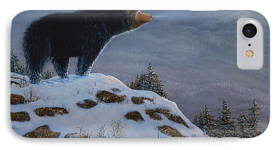 Wildlife IPhone 7 Case featuring the painting Last Look Black Bear by Frank Wilson