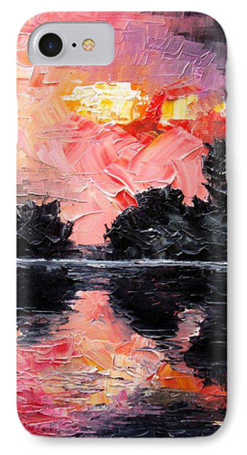 Lake After Storm IPhone 7 Case featuring the painting Sunset. After Storm. by Sergey Bezhinets