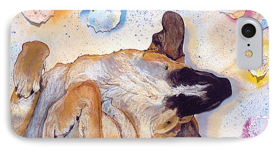 Sleeping Dog IPhone 7 Case featuring the painting Dog Dreams by Pat Saunders-White