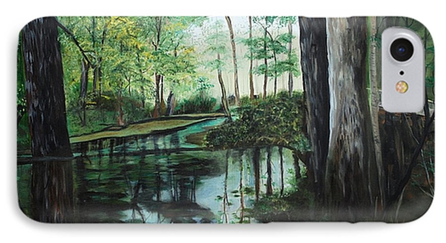 Landscape IPhone 7 Case featuring the painting Ginny Springs by Margaret Fortunato