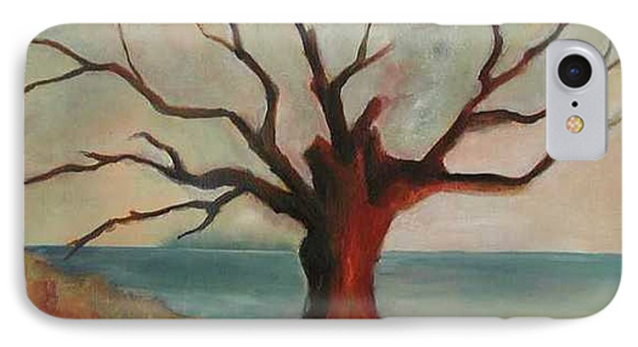 Oak Tree Inspired By Katrina Damage Along The Coast IPhone 7 Case featuring the painting Lone Oak - Gulf Coast by Deborah Allison