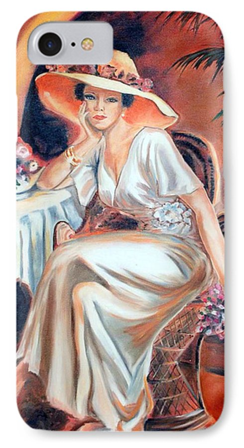 Woman IPhone 7 Case featuring the painting Patience In Beauty by Margaret Fortunato
