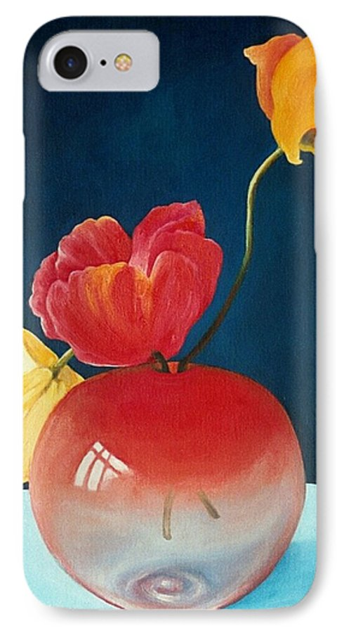 Still Life IPhone 7 Case featuring the painting Poppies by Trisha Lambi