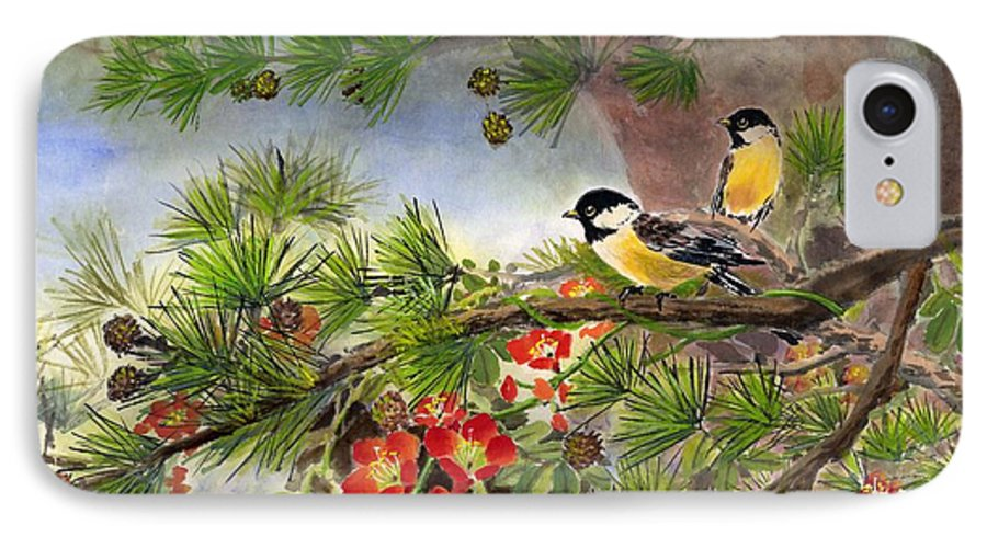 Chinese Trumpet Vine IPhone Case featuring the painting Summer Vine With Pine Tree by Eileen Fong