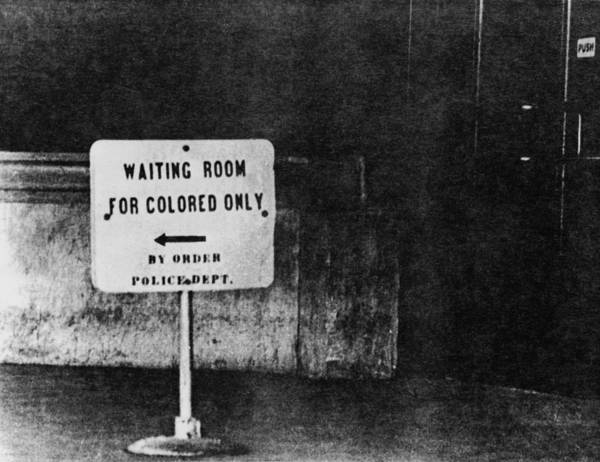 History Poster featuring the photograph Sign Reading Waiting Room For Colored by Everett
