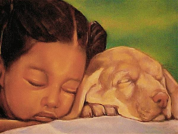 Girls Poster featuring the pastel Sleeping Beauties by Curtis James