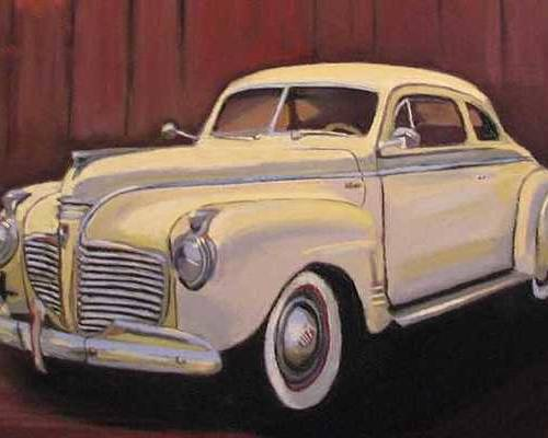 This Is The Beautiful Old Car Aunt Clara Keeps In Her Barn Poster featuring the painting 1941 Plymouth - Aunt Clara by Mary Hollinger