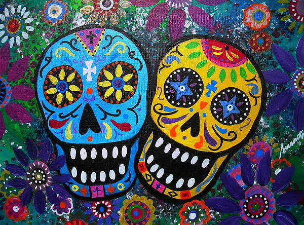 Day Of The Dead Poster featuring the painting Couple Day Of The Dead by Pristine Cartera Turkus