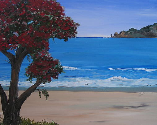 Landscape Seascape Pohutukawa Tree Poster featuring the painting A Peaceful Place Revisited by Sher Green