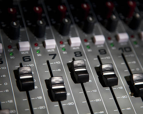 Horizontal Poster featuring the photograph A Sound Mixing Board, Close-up, Full Frame by Tobias Titz