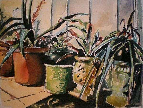 Potted Plants Poster featuring the painting At The Doorstep by Aleksandra Buha