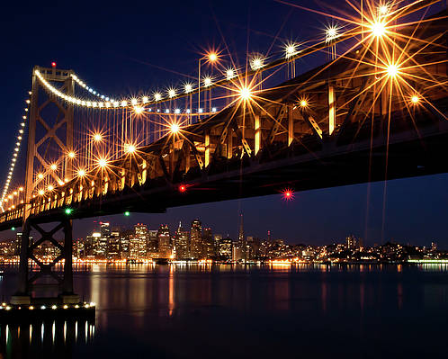 Horizontal Poster featuring the photograph Bay Bridge In Front Of San Francisco Skyline by Blue Hour Photography