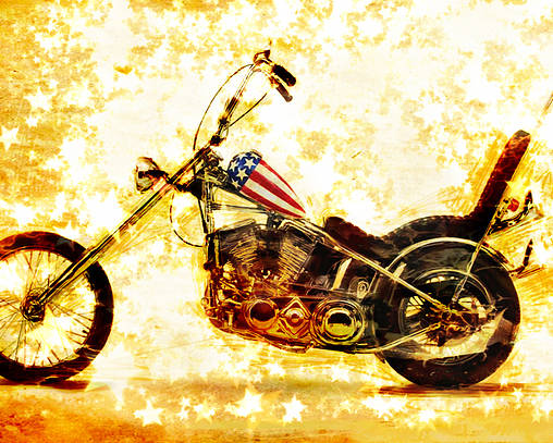 Easy Rider Poster featuring the mixed media Captain America by Russell Pierce