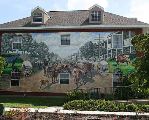 Mural Poster featuring the painting Cattle Drive Down Marion Avenue 1903 by Michael Vires