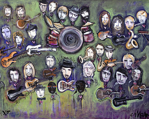 Chris Daniels Poster featuring the painting Chris Daniels And Friends by Laurie Maves ART
