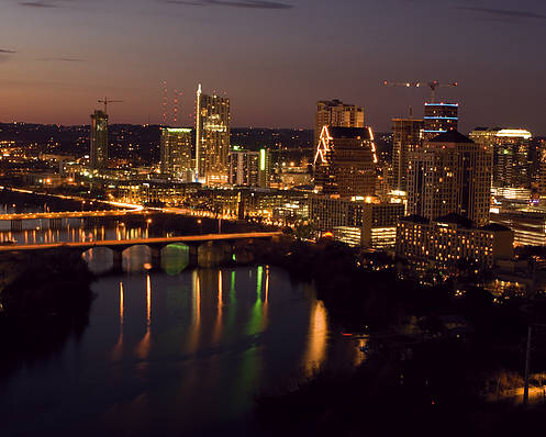 Austin Poster featuring the photograph City Of Austin At Dusk by David Thompson