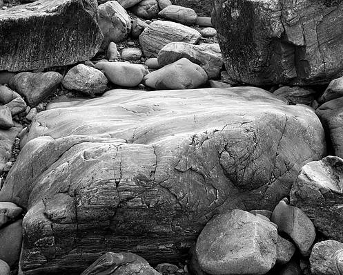 Black And White Poster featuring the photograph Coastal Granite In Black And White by David Thompson