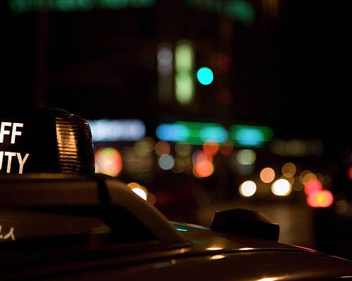 Horizontal Poster featuring the photograph Detail Of A Taxi At Night, New York City, Usa by Frederick Bass