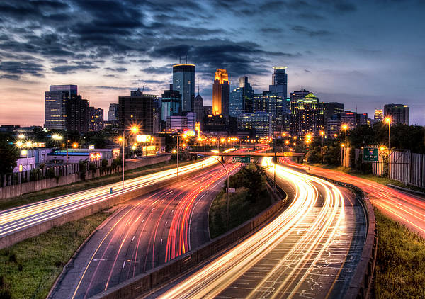 Horizontal Poster featuring the photograph Downtown Minneapolis Skyscrapers by Greg Benz