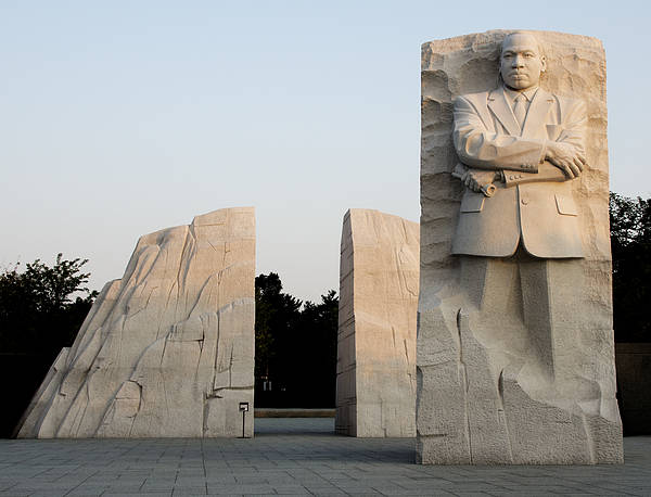 Martin Poster featuring the photograph Early Morning At The Martin Luther King Jr Memorial - Washington Dc by Brendan Reals