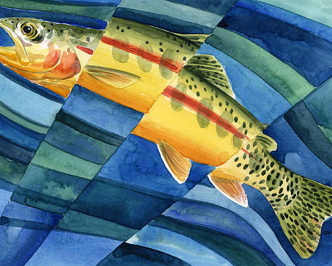 Trout Poster featuring the painting Flickering Gold by Mark Jennings