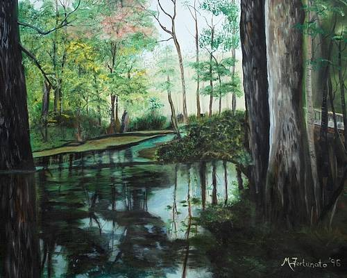 Landscape Poster featuring the painting Ginny Springs by Margaret Fortunato