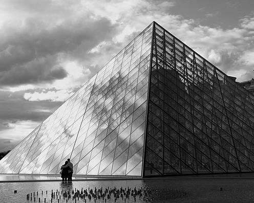 Paris Poster featuring the photograph Glass Pyramid. Louvre. Paris. by Bernard Jaubert