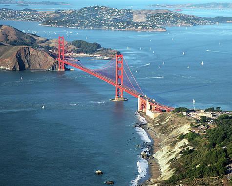Horizontal Poster featuring the photograph Golden Gate Bridge by Stickney Design