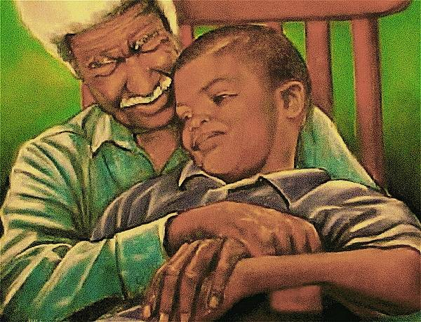 Grandpa And Me Poster featuring the pastel Grandpa And Me by Curtis James