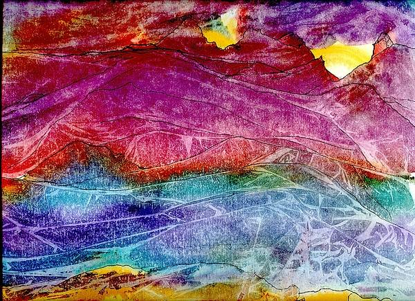Sunsets Poster featuring the painting Heavenly Light Kisses Mountains Goodnight. by Laura Johnson