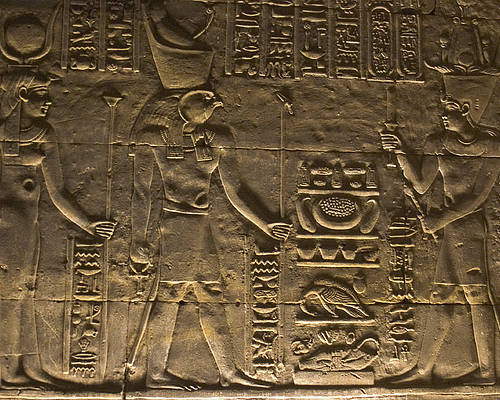 Africa Poster featuring the photograph Hieroglyph At Edfu by Darcy Michaelchuk