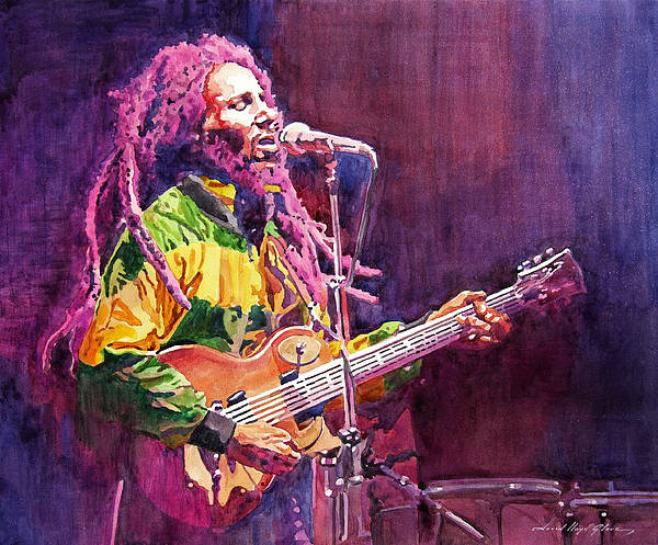 Bob Marley Poster featuring the painting Jammin - Bob Marley by David Lloyd Glover