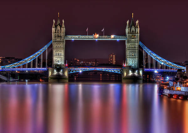 Tower Bridge Poster featuring the photograph Jewel Of The Night by Evelina Kremsdorf