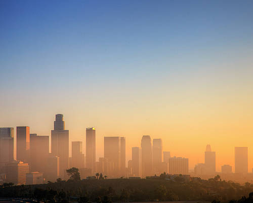 Horizontal Poster featuring the photograph Los Angeles Sunset by Eric Lo