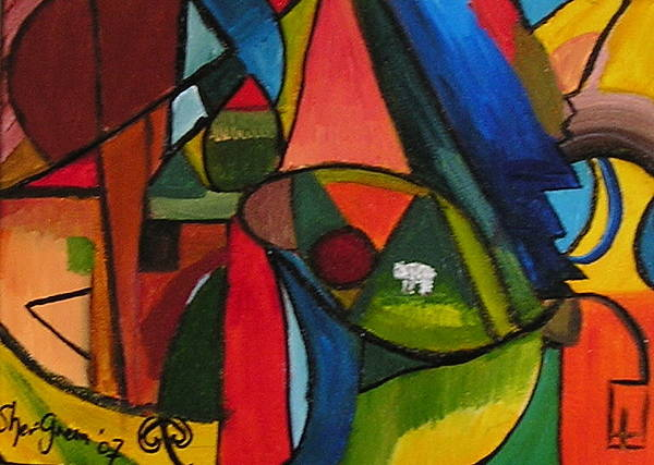 Lamb Solitude World Frenzy Colourful Vibrant Abstract Poster featuring the painting Lost And Alone by Sher Green