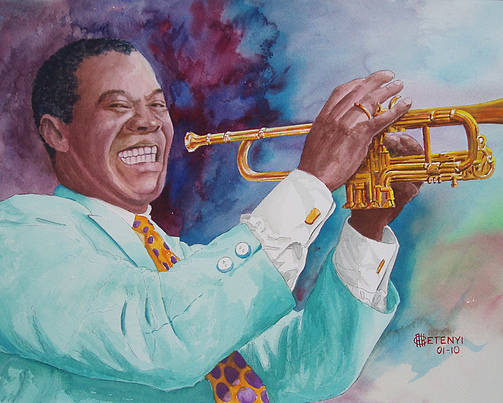 Trumpet Poster featuring the painting Louis Armstrong by Charles Hetenyi